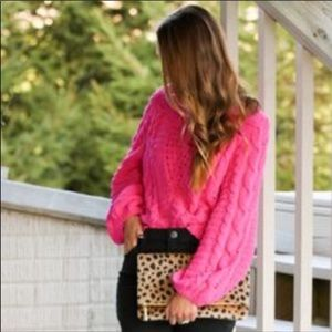 Pink cable knit boutique sweater